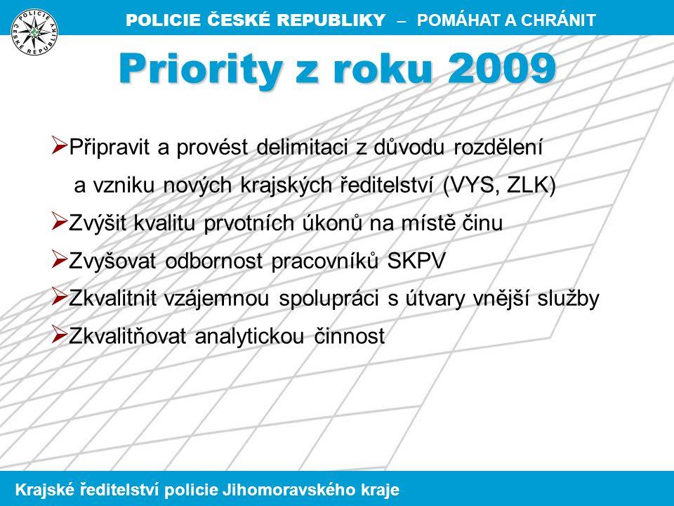 POLICIE ČESKÉ REPUBLIKY – POMÁHAT A CHRÁNIT Krajské ředitelství policie Jihomoravského kraje  Vzhledem k organizačním změnám v roce 2009 provést analýzu zatíženosti jednotlivých útvarů v smyslu její optimalizace  Efektivní využívání informačních systémů policie  Zvýšení hospodárnosti, efektivnosti a rychlosti trestního řízení  Zvýšení vzdělání policistů SKPV Na úseku organizačním a řídícím Priority SKPV KŘ Jmk - 2010