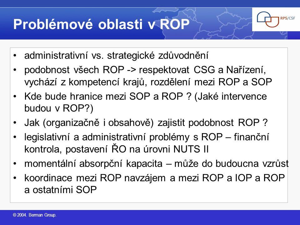 © 2004.Berman Group. Problémové oblasti v ROP administrativní vs.