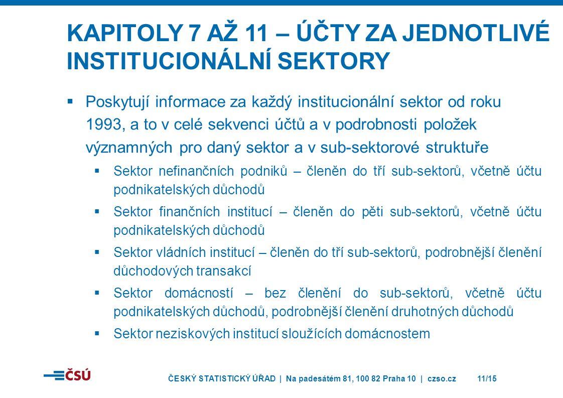 ČESKÝ STATISTICKÝ ÚŘAD | Na padesátém 81, 100 82 Praha 10 | czso.cz11/15 KAPITOLY 7 AŽ 11 – ÚČTY ZA JEDNOTLIVÉ INSTITUCIONÁLNÍ SEKTORY  Poskytují informace za každý institucionální sektor od roku 1993, a to v celé sekvenci účtů a v podrobnosti položek významných pro daný sektor a v sub-sektorové struktuře  Sektor nefinančních podniků – členěn do tří sub-sektorů, včetně účtu podnikatelských důchodů  Sektor finančních institucí – členěn do pěti sub-sektorů, včetně účtu podnikatelských důchodů  Sektor vládních institucí – členěn do tří sub-sektorů, podrobnější členění důchodových transakcí  Sektor domácností – bez členění do sub-sektorů, včetně účtu podnikatelských důchodů, podrobnější členění druhotných důchodů  Sektor neziskových institucí sloužících domácnostem