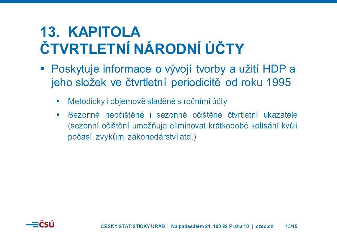 ČESKÝ STATISTICKÝ ÚŘAD | Na padesátém 81, 100 82 Praha 10 | czso.cz13/15 13.
