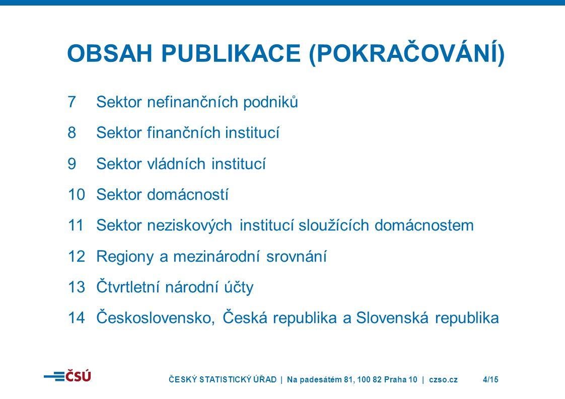 ČESKÝ STATISTICKÝ ÚŘAD | Na padesátém 81, 100 82 Praha 10 | czso.cz4/15 OBSAH PUBLIKACE (POKRAČOVÁNÍ) 7Sektor nefinančních podniků 8Sektor finančních institucí 9Sektor vládních institucí 10Sektor domácností 11Sektor neziskových institucí sloužících domácnostem 12Regiony a mezinárodní srovnání 13Čtvrtletní národní účty 14Československo, Česká republika a Slovenská republika
