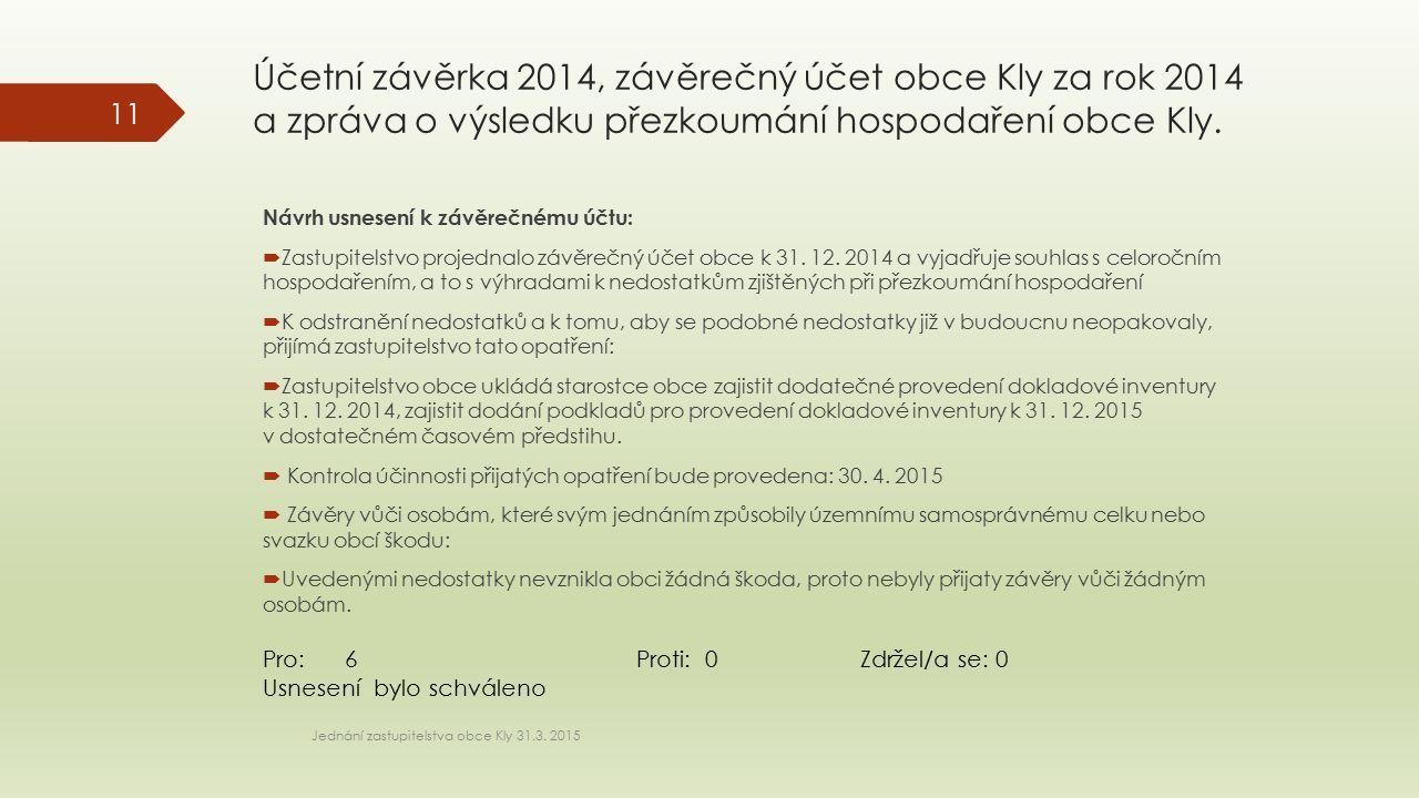 Účetní závěrka 2014, závěrečný účet obce Kly za rok 2014 a zpráva o výsledku přezkoumání hospodaření obce Kly. Jednání zastupitelstva obce Kly 31.3. 2
