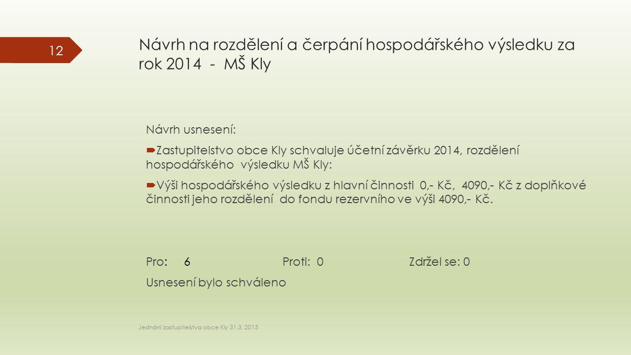 Návrh na rozdělení a čerpání hospodářského výsledku za rok 2014 - MŠ Kly Návrh usnesení:  Zastupitelstvo obce Kly schvaluje účetní závěrku 2014, rozd