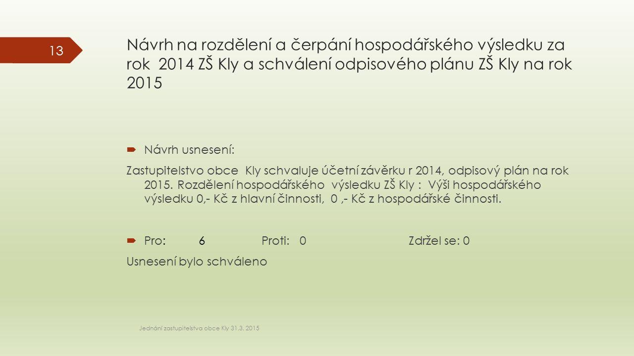 Návrh na rozdělení a čerpání hospodářského výsledku za rok 2014 ZŠ Kly a schválení odpisového plánu ZŠ Kly na rok 2015 Jednání zastupitelstva obce Kly 31.3.