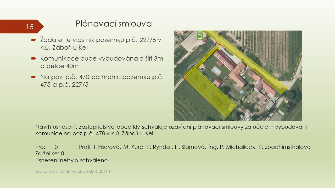 Plánovací smlouva  Žadatel je vlastník pozemku p.č. 227/5 v k.ú. Záboří u Kel  Komunikace bude vybudována o šíři 3m a délce 40m  Na poz. p.č. 470 o