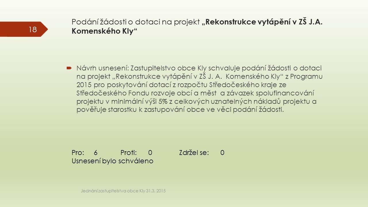 """Podání žádosti o dotaci na projekt """"Rekonstrukce vytápění v ZŠ J.A. Komenského Kly""""  Návrh usnesení: Zastupitelstvo obce Kly schvaluje podání žádosti"""