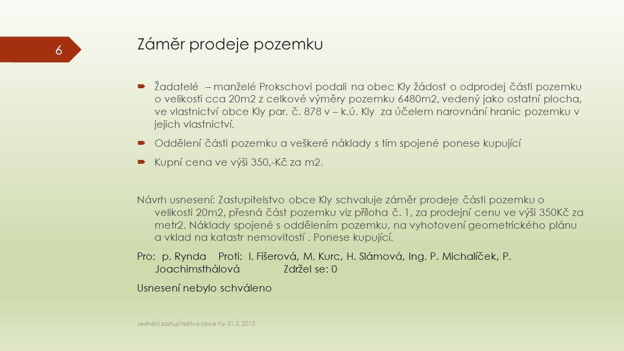 Záměr prodeje pozemku  Žadatelé – manželé Prokschovi podali na obec Kly žádost o odprodej části pozemku o velikosti cca 20m2 z celkové výměry pozemku