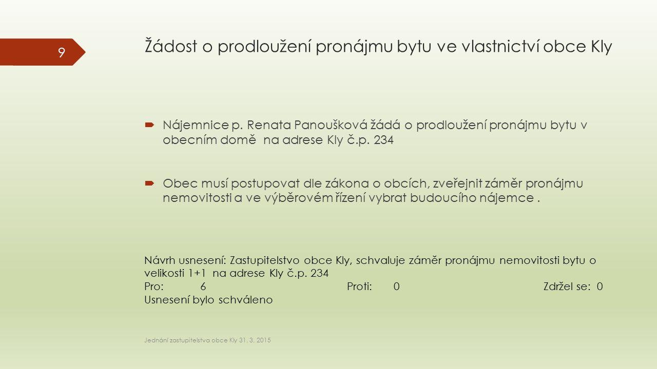 Žádost o prodloužení pronájmu bytu ve vlastnictví obce Kly  Nájemnice p. Renata Panoušková žádá o prodloužení pronájmu bytu v obecním domě na adrese