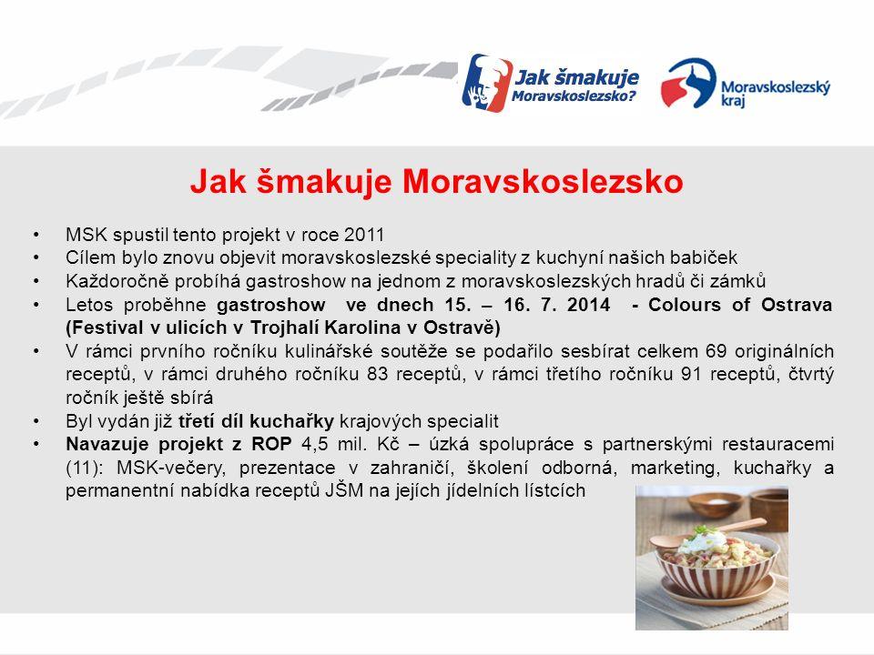 Jak šmakuje Moravskoslezsko MSK spustil tento projekt v roce 2011 Cílem bylo znovu objevit moravskoslezské speciality z kuchyní našich babiček Každoročně probíhá gastroshow na jednom z moravskoslezských hradů či zámků Letos proběhne gastroshow ve dnech 15.