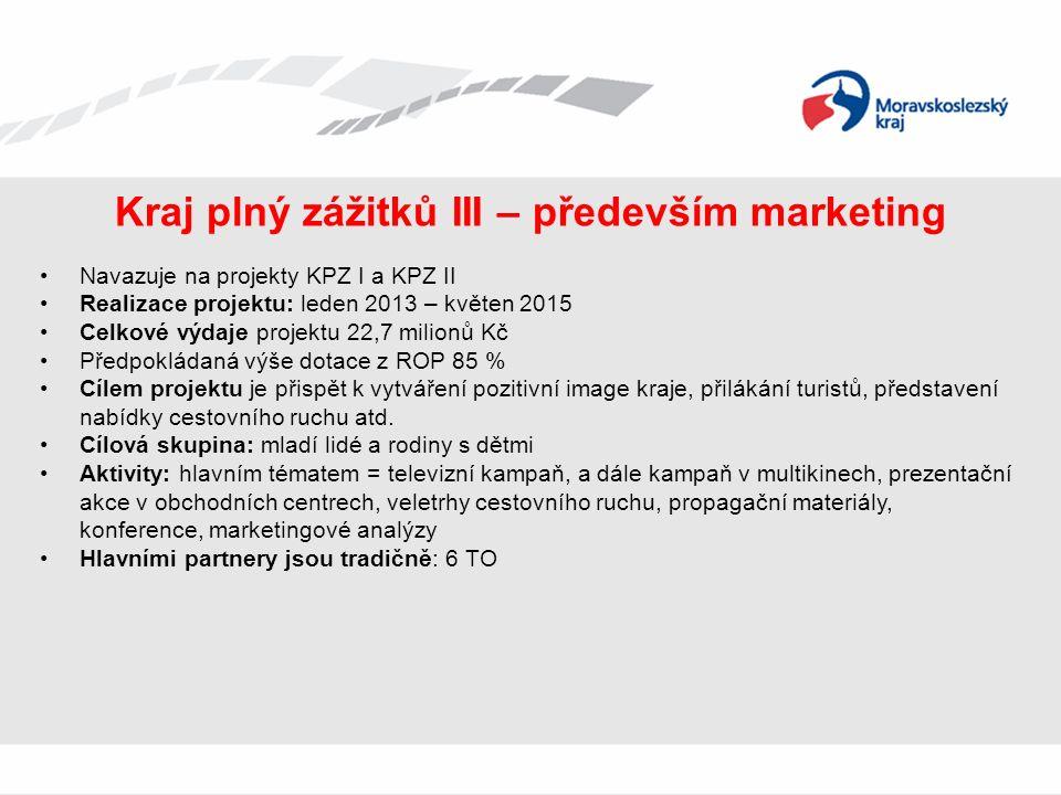 Kraj plný zážitků III – především marketing Navazuje na projekty KPZ I a KPZ II Realizace projektu: leden 2013 – květen 2015 Celkové výdaje projektu 2