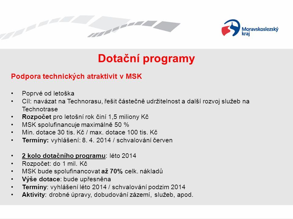 Dotační programy Podpora technických atraktivit v MSK Poprvé od letoška Cíl: navázat na Technorasu, řešit částečně udržitelnost a další rozvoj služeb na Technotrase Rozpočet pro letošní rok činí 1,5 miliony Kč MSK spolufinancuje maximálně 50 % Min.