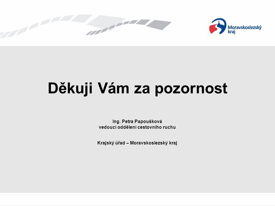 Děkuji Vám za pozornost Ing. Petra Papoušková vedoucí oddělení cestovního ruchu Krajský úřad – Moravskoslezský kraj
