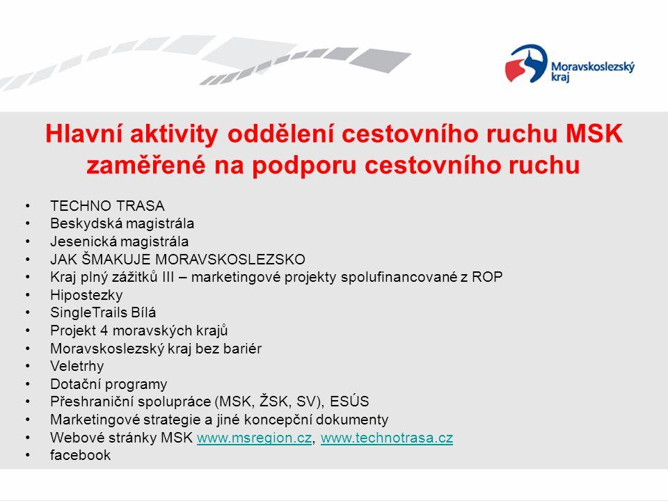 Hlavní aktivity oddělení cestovního ruchu MSK zaměřené na podporu cestovního ruchu TECHNO TRASA Beskydská magistrála Jesenická magistrála JAK ŠMAKUJE