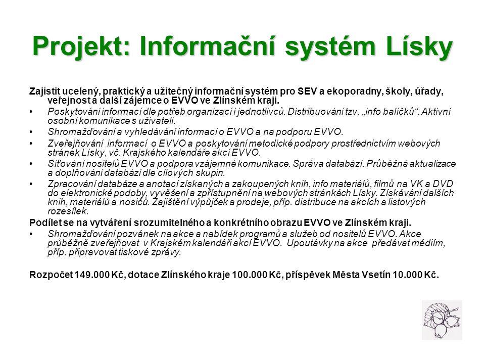 Projekt: Informační systém Lísky Zajistit ucelený, praktický a užitečný informační systém pro SEV a ekoporadny, školy, úřady, veřejnost a další zájemce o EVVO ve Zlínském kraji.