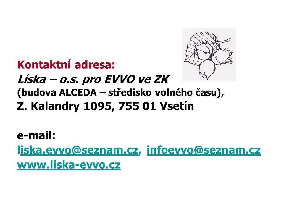Kontaktní adresa: Líska – o.s. pro EVVO ve ZK (budova ALCEDA – středisko volného času), Z.
