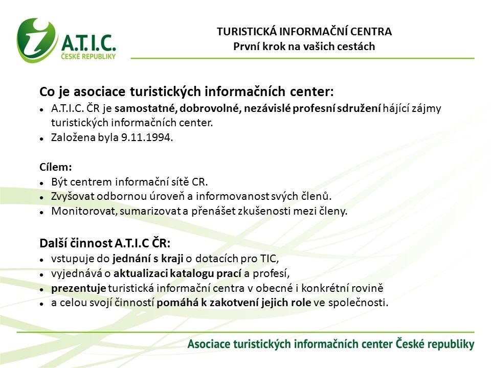 TURISTICKÁ INFORMAČNÍ CENTRA První krok na vašich cestách Co je asociace turistických informačních center: A.T.I.C.