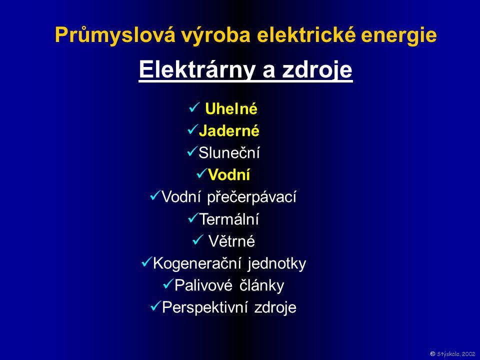 Průmyslová výroba elektrické energie Elektrárny a zdroje Uhelné Jaderné Sluneční Vodní Vodní přečerpávací Termální Větrné Kogenerační jednotky Palivové články Perspektivní zdroje  Stýskala, 2002