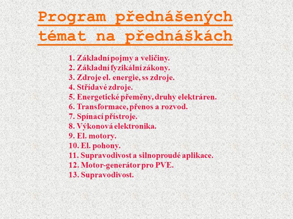 Program přednášených témat na přednáškách 1. Základní pojmy a veličiny.