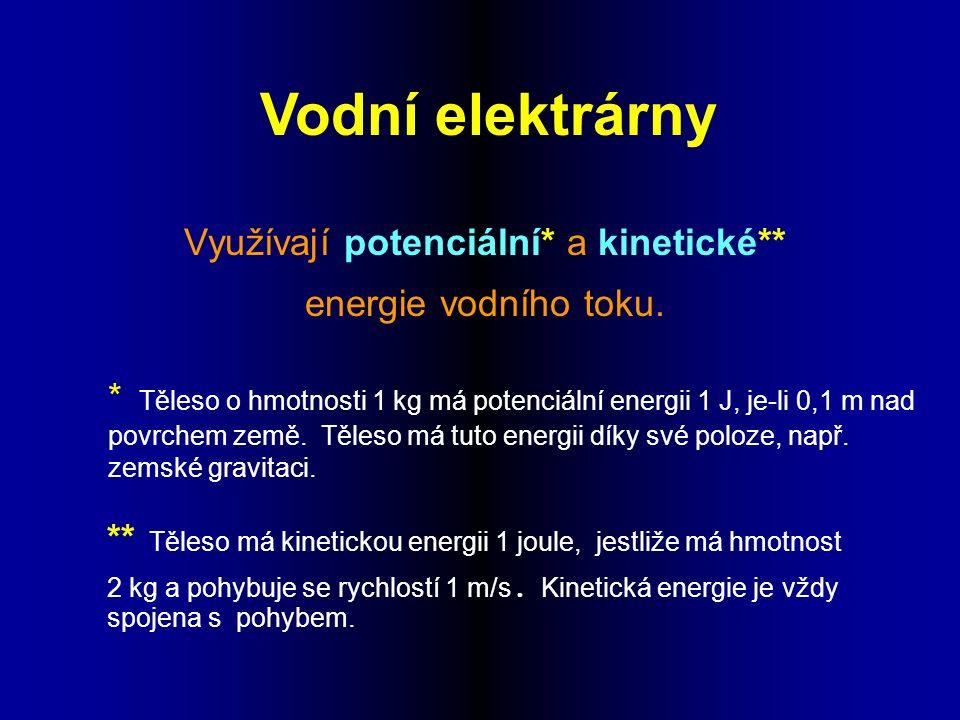 Vodní elektrárny Využívají potenciální* a kinetické** energie vodního toku.