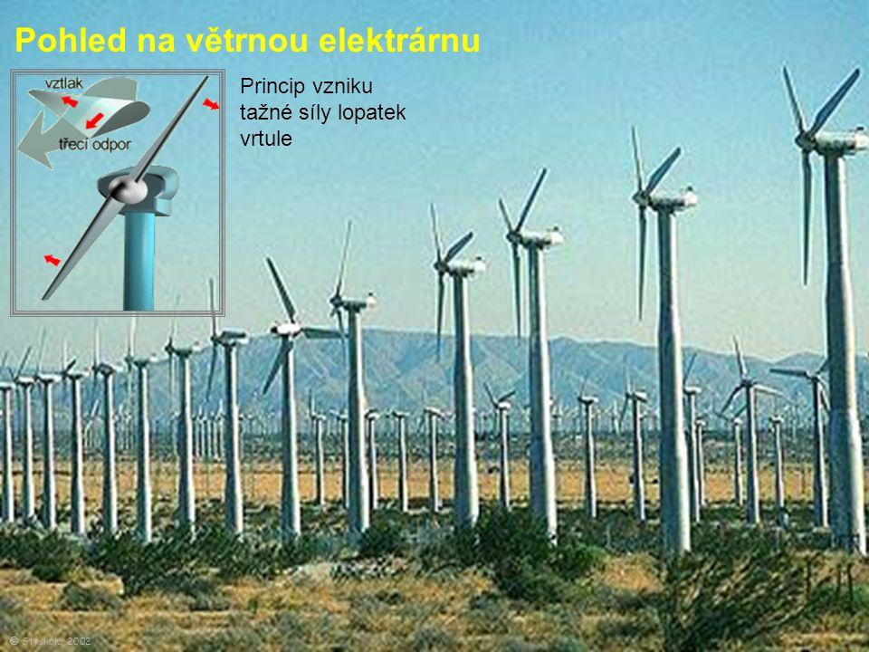Pohled na větrnou elektrárnu Princip vzniku tažné síly lopatek vrtule  Stýskala, 2002