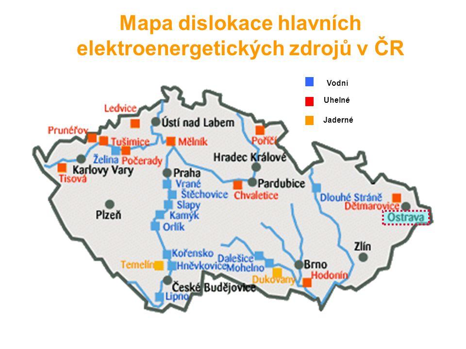 Mapa dislokace hlavních elektroenergetických zdrojů v ČR Vodní Uhelné Jaderné
