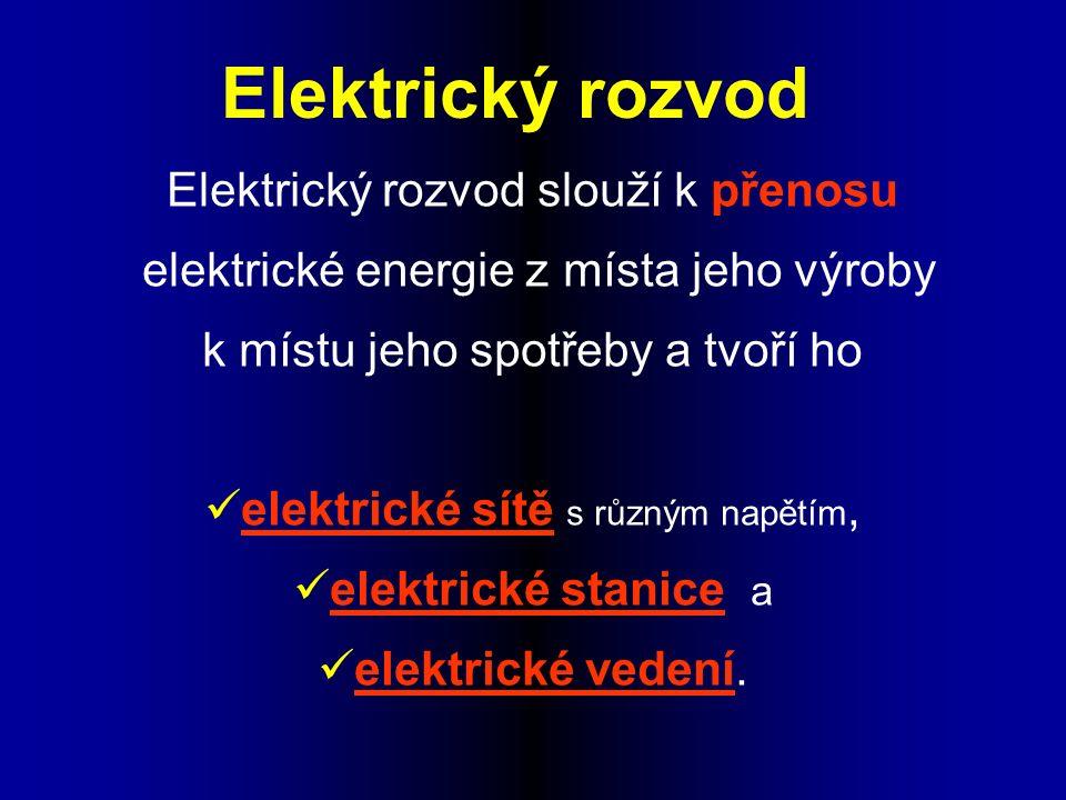 Elektrický rozvod slouží k přenosu elektrické energie z místa jeho výroby k místu jeho spotřeby a tvoří ho elektrické sítě s různým napětím, elektrické stanice a elektrické vedení.