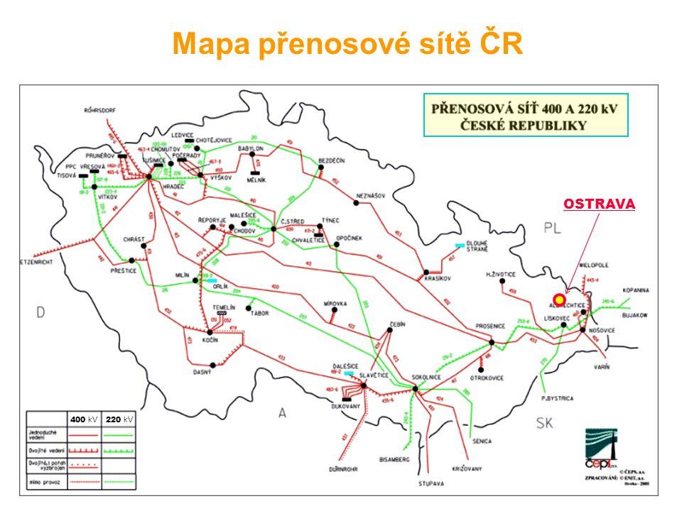 OSTRAVA 220 kV 400 kV Mapa přenosové sítě ČR