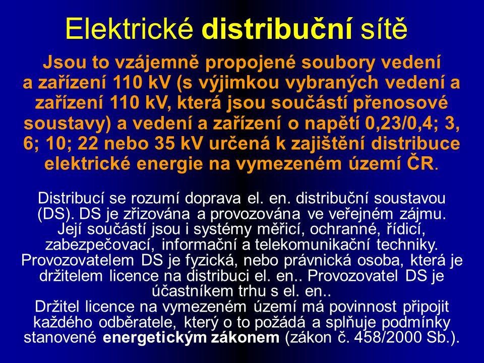Jsou to vzájemně propojené soubory vedení a zařízení 110 kV (s výjimkou vybraných vedení a zařízení 110 kV, která jsou součástí přenosové soustavy) a vedení a zařízení o napětí 0,23/0,4; 3, 6; 10; 22 nebo 35 kV určená k zajištění distribuce elektrické energie na vymezeném území ČR.