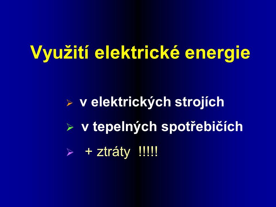 Využití elektrické energie  v elektrických strojích  v tepelných spotřebičích  + ztráty !!!!!