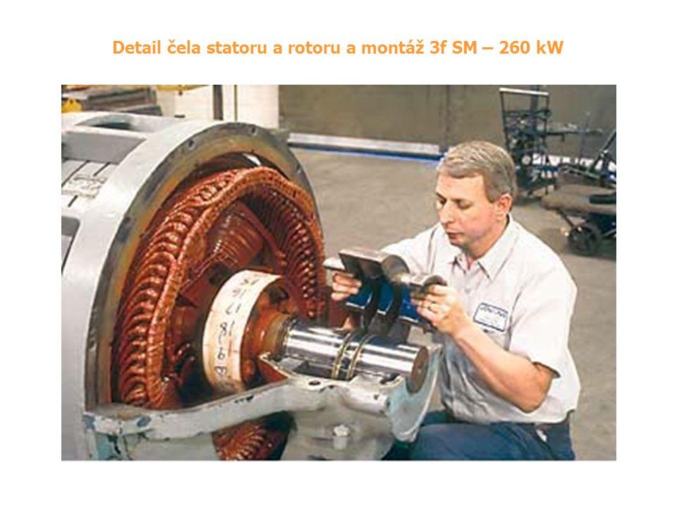 Detail čela statoru a rotoru a montáž 3f SM – 260 kW
