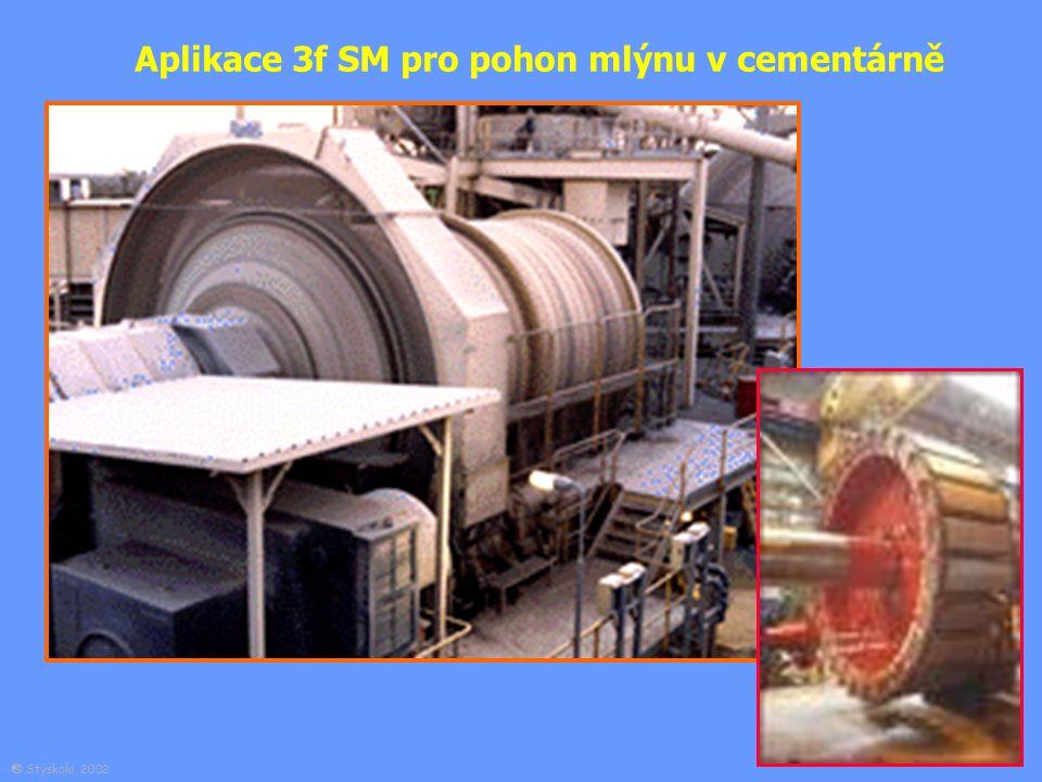 Aplikace 3f SM pro pohon mlýnu v cementárně  Stýskala, 2002