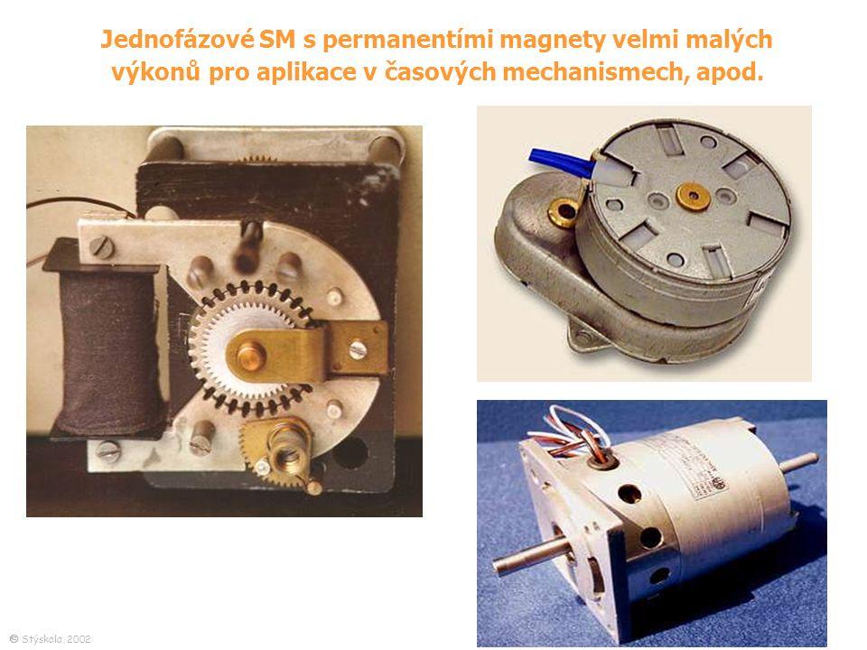 Jednofázové SM s permanentími magnety velmi malých výkonů pro aplikace v časových mechanismech, apod.