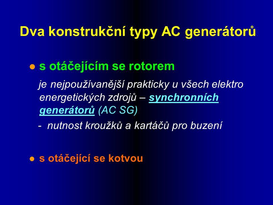 Dva konstrukční typy AC generátorů l s otáčejícím se rotorem je nejpoužívanější prakticky u všech elektro energetických zdrojů – synchronních generátorů (AC SG) - nutnost kroužků a kartáčů pro buzení l s otáčející se kotvou
