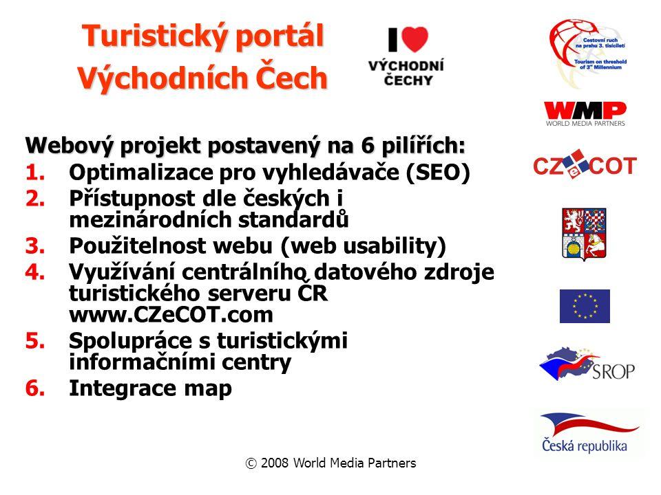 © 2008 World Media Partners Webový projekt postavený na 6 pilířích: 1.Optimalizace pro vyhledávače (SEO) 2.Přístupnost dle českých i mezinárodních sta