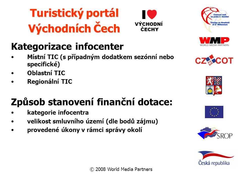© 2008 World Media Partners Kategorizace infocenter Místní TIC (s případným dodatkem sezónní nebo specifické) Oblastní TIC Regionální TIC Způsob stano
