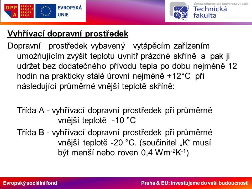 Evropský sociální fond Praha & EU: Investujeme do vaší budoucnosti Vyhřívací dopravní prostředek Dopravní prostředek vybavený vytápěcím zařízením umož