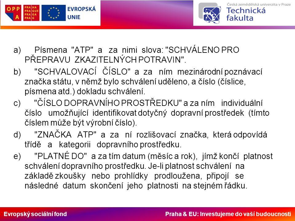 Evropský sociální fond Praha & EU: Investujeme do vaší budoucnosti a) Písmena