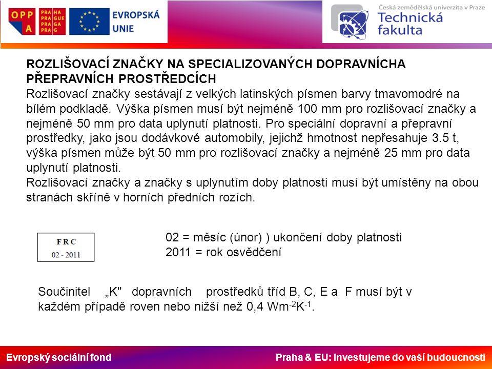 Evropský sociální fond Praha & EU: Investujeme do vaší budoucnosti ROZLIŠOVACÍ ZNAČKY NA SPECIALIZOVANÝCH DOPRAVNÍCHA PŘEPRAVNÍCH PROSTŘEDCÍCH Rozlišo
