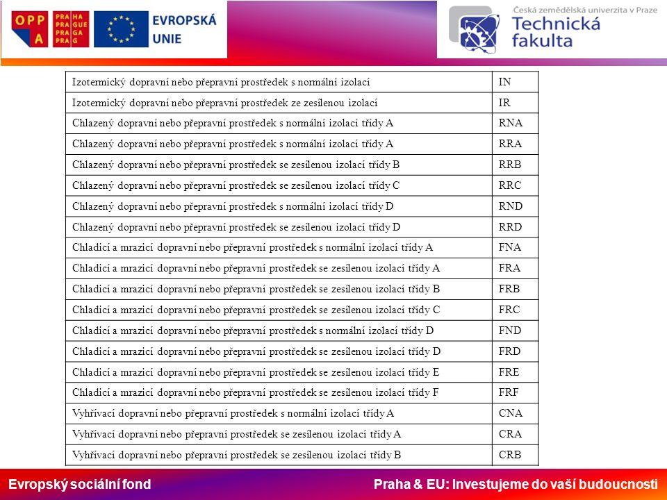 Evropský sociální fond Praha & EU: Investujeme do vaší budoucnosti Izotermický dopravní nebo přepravní prostředek s normální izolacíIN Izotermický dop