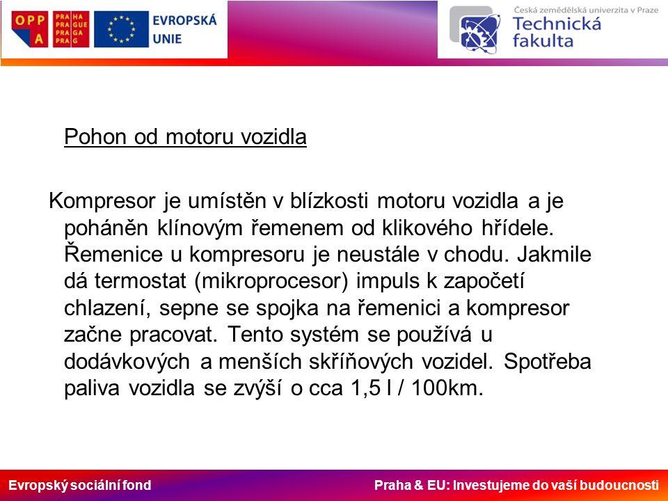 Evropský sociální fond Praha & EU: Investujeme do vaší budoucnosti Pohon od motoru vozidla Kompresor je umístěn v blízkosti motoru vozidla a je poháně