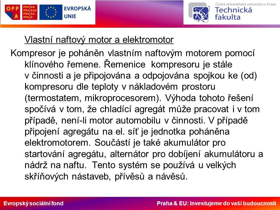Evropský sociální fond Praha & EU: Investujeme do vaší budoucnosti Vlastní naftový motor a elektromotor Kompresor je poháněn vlastním naftovým motorem