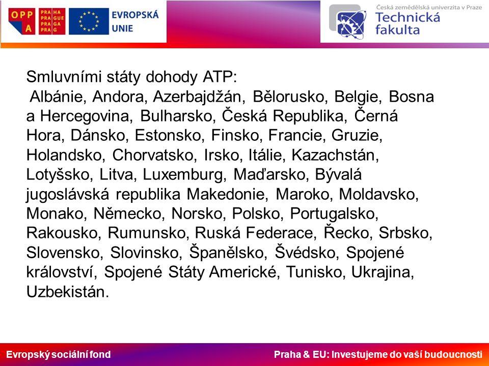Evropský sociální fond Praha & EU: Investujeme do vaší budoucnosti Zkratka ATP vystihuje počáteční písmena slov z francouzského názvu dohody: Accord – dohoda Transport – doprava Perissables – zkazitelné Dohoda platí pro silniční i železniční dopravu.
