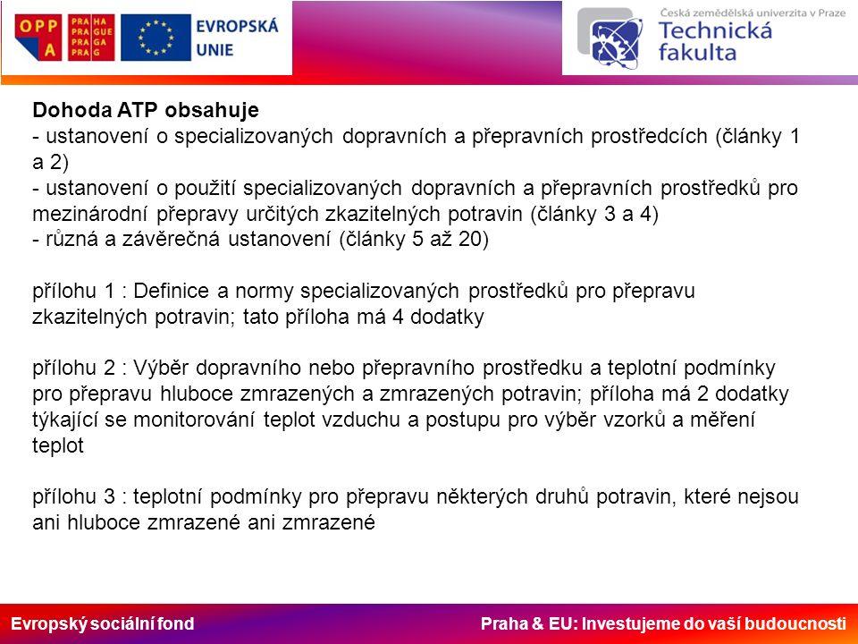 Evropský sociální fond Praha & EU: Investujeme do vaší budoucnosti Dohoda ATP obsahuje - ustanovení o specializovaných dopravních a přepravních prostř