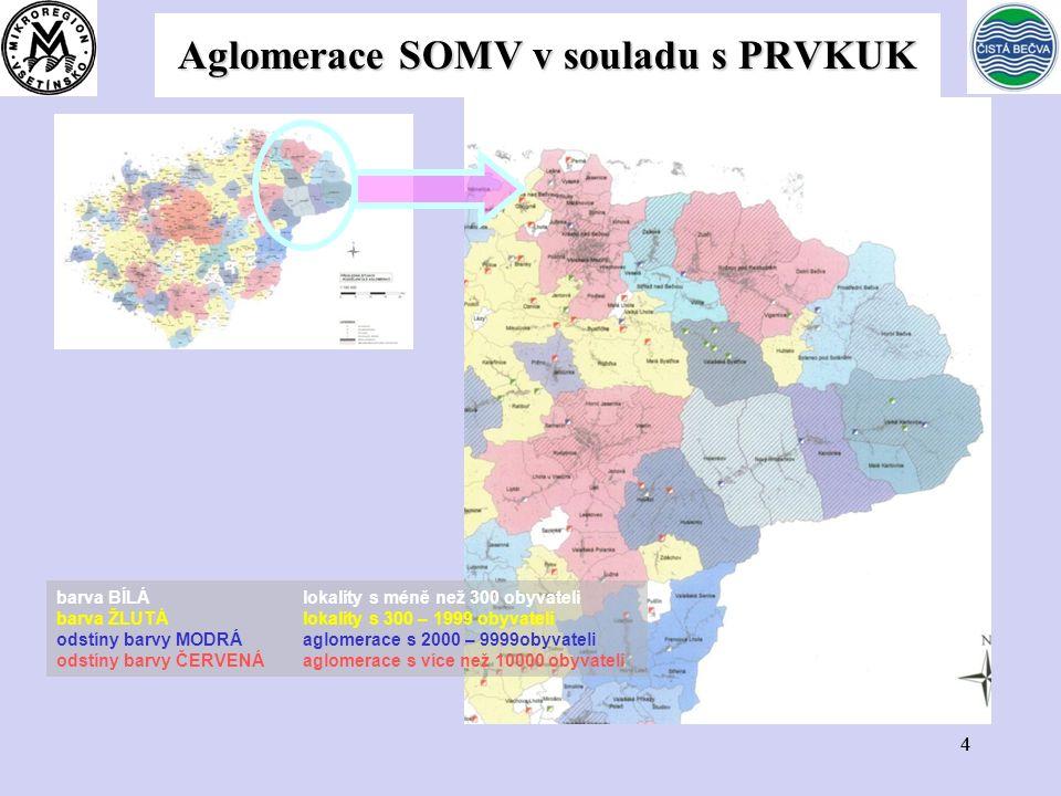44 Aglomerace SOMV v souladu s PRVKUK barva BÍLÁ lokality s méně než 300 obyvateli barva ŽLUTÁ lokality s 300 – 1999 obyvateli odstíny barvy MODRÁ aglomerace s 2000 – 9999obyvateli odstíny barvy ČERVENÁ aglomerace s více než 10000 obyvateli