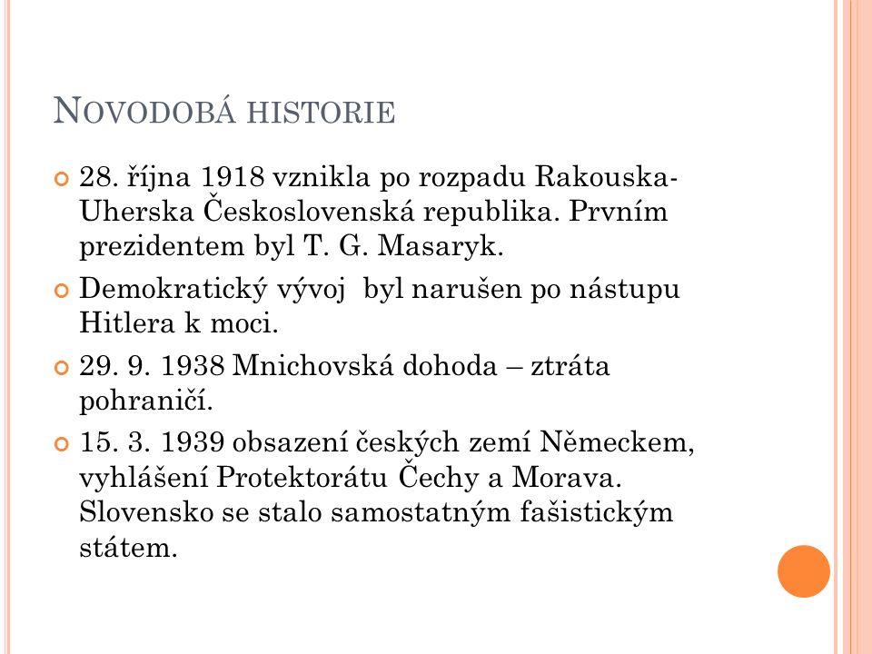 N OVODOBÁ HISTORIE 28. října 1918 vznikla po rozpadu Rakouska- Uherska Československá republika.