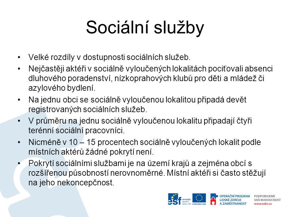 Sociální služby Velké rozdíly v dostupnosti sociálních služeb. Nejčastěji aktéři v sociálně vyloučených lokalitách pociťovali absenci dluhového porade