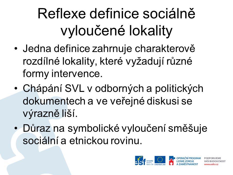 Reflexe definice sociálně vyloučené lokality Jedna definice zahrnuje charakterově rozdílné lokality, které vyžadují různé formy intervence. Chápání SV