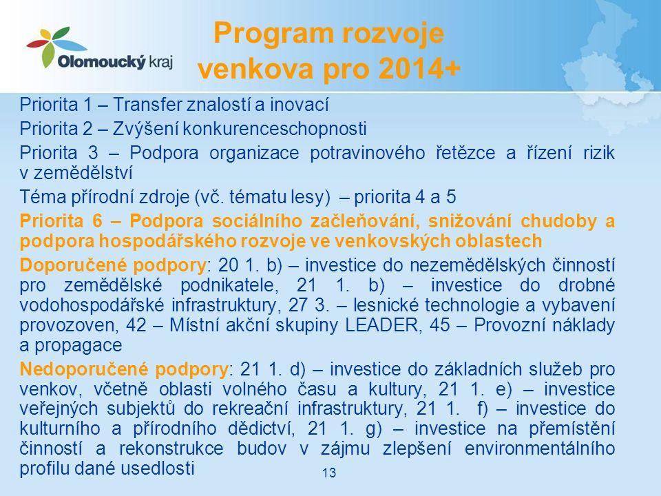 Priorita 1 – Transfer znalostí a inovací Priorita 2 – Zvýšení konkurenceschopnosti Priorita 3 – Podpora organizace potravinového řetězce a řízení rizik v zemědělství Téma přírodní zdroje (vč.