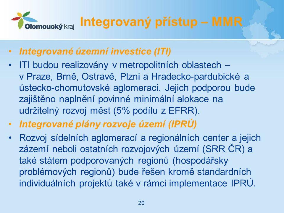 Integrované územní investice (ITI) ITI budou realizovány v metropolitních oblastech – v Praze, Brně, Ostravě, Plzni a Hradecko-pardubické a ústecko-chomutovské aglomeraci.