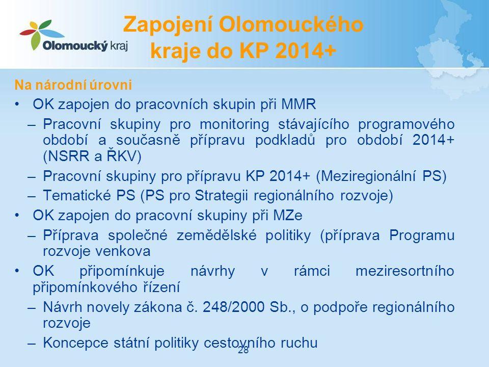 Na národní úrovni OK zapojen do pracovních skupin při MMR –Pracovní skupiny pro monitoring stávajícího programového období a současně přípravu podkladů pro období 2014+ (NSRR a ŘKV) –Pracovní skupiny pro přípravu KP 2014+ (Meziregionální PS) –Tematické PS (PS pro Strategii regionálního rozvoje) OK zapojen do pracovní skupiny při MZe –Příprava společné zemědělské politiky (příprava Programu rozvoje venkova OK připomínkuje návrhy v rámci meziresortního připomínkového řízení –Návrh novely zákona č.